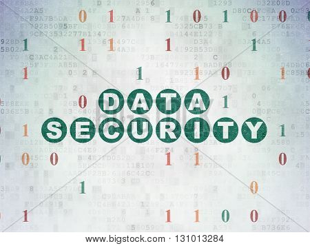 Security concept: Painted green text Data Security on Digital Data Paper background with Binary Code