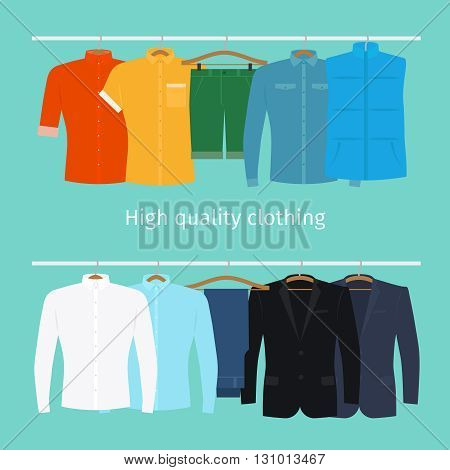 Clothes on hangers. Mens clothes in flat style vector illustration