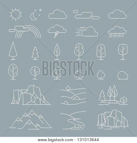 Nature landscape thin line elements icons. Vector nature landscape items