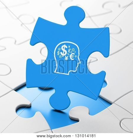 Business concept: Head With Finance Symbol on Blue puzzle pieces background, 3D rendering