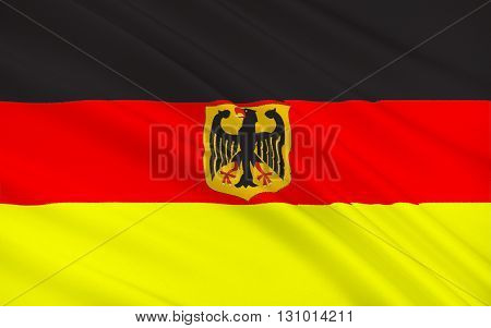 Flag with the emblem of Germany, 3D illustration