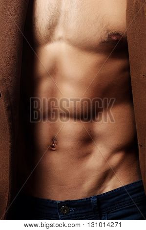 Muscular male torso chest power fitness young