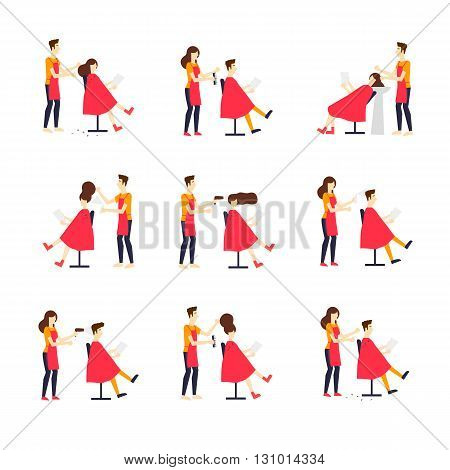 Barbershop, cutting, styling, washing, hair dryer. Characters. Illustration of people and element in barber shop. Isolated on background. Vector color flat illustrations.