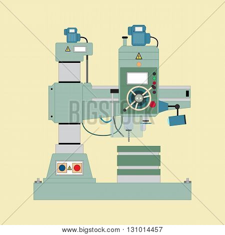 Vector image of boring mill, flat style.