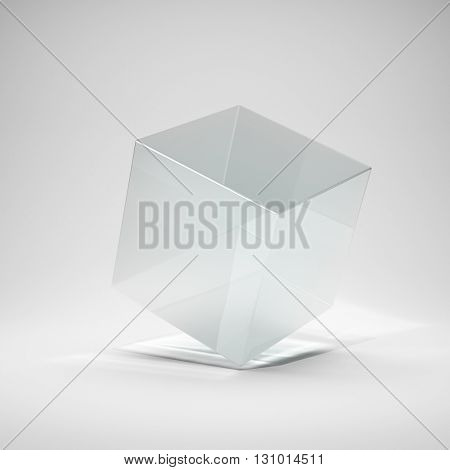Glass cube in bright glow. 3D illustration.
