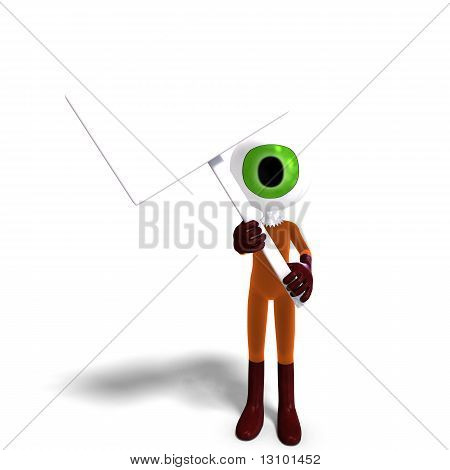 funny and cute cartoon guy with a great eye