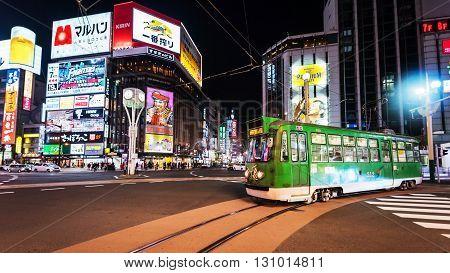 Tram Ride At Susukino District, Sapporo