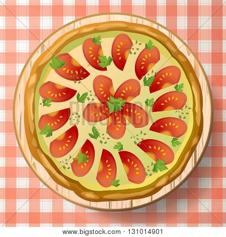 Pizza Margherita with cheese mozzarella tomato sauce oregano fresh parsley and species on wooden cutting board on red-white tablecloth. Top view close-up vector illustration.