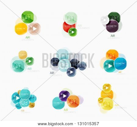 Circle speech bubble web boxes with infographic elements and sample text. Vector illustration