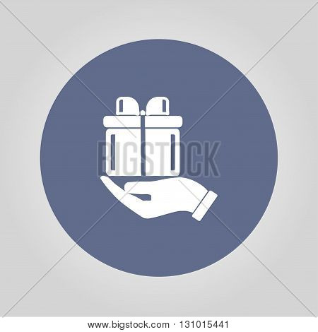 vector gift box icon. Flat design style eps 10