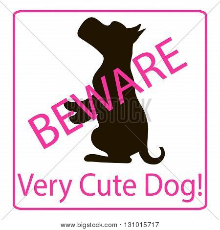 Very Cute Dogs Signs Vector Illustration pink background