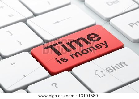 Time concept: computer keyboard with word Time Is money, selected focus on enter button background, 3D rendering