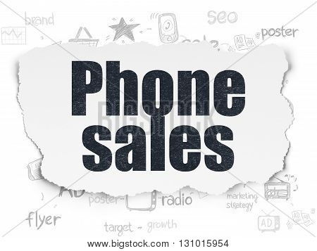 Marketing concept: Painted black text Phone Sales on Torn Paper background with Scheme Of Hand Drawn Marketing Icons