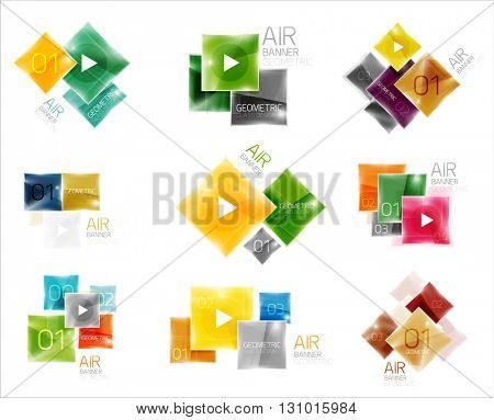 Set of square web boxes. Vector illustration