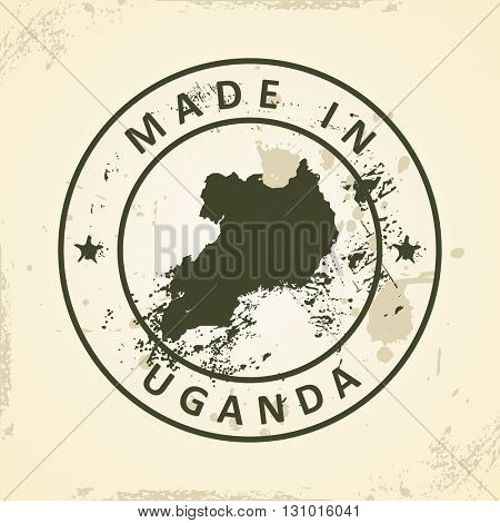 Grunge stamp with map of Uganda - vector illustration