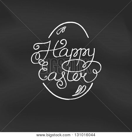 Happy Easter. Vector  Illustration . Lettering And Calligraphy Design On Blackboard Background With