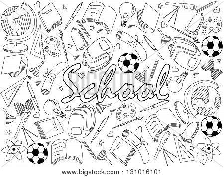Vector line art Doodle set of cartoon characters and objects school. Coloring book