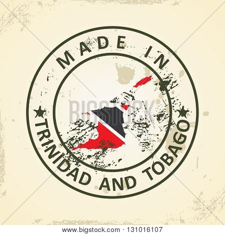 Grunge stamp with map flag of Trinidad and Tobago - vector illustration