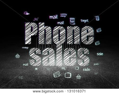 Marketing concept: Glowing text Phone Sales,  Hand Drawn Marketing Icons in grunge dark room with Dirty Floor, black background