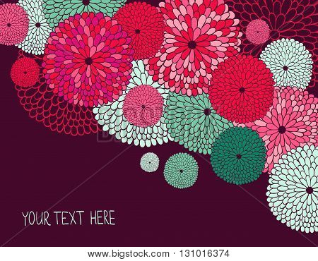 Vector background illustration with flowers and place for your text.