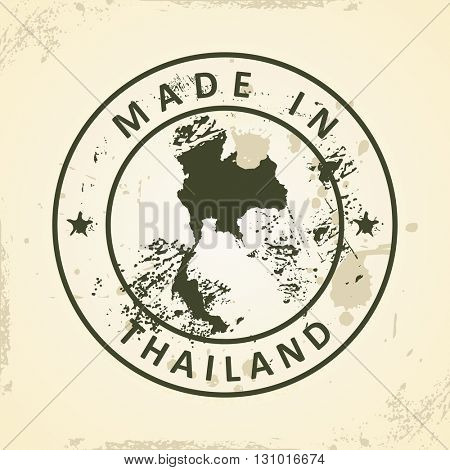 Grunge stamp with map of Thailand - vector illustration