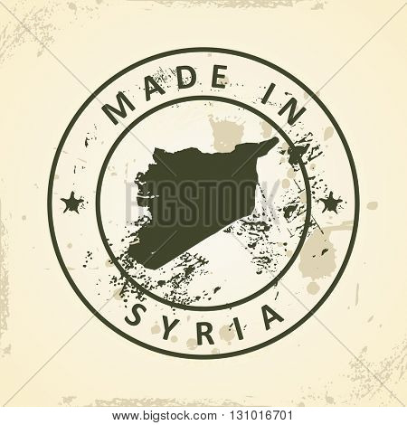 Grunge stamp with map of Syria - vector illustration