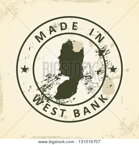 Grunge stamp with map of West Bank - vector illustration