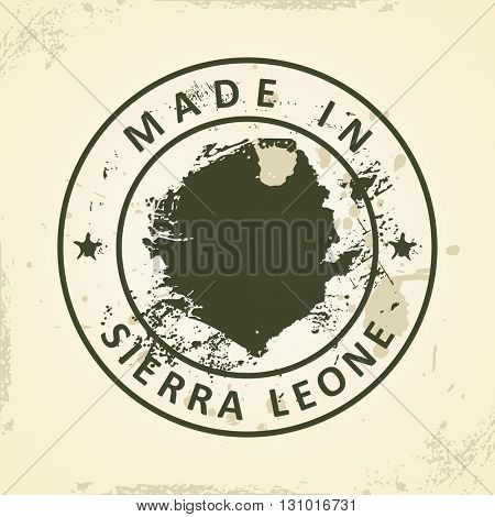 Grunge stamp with map of Sierra Leone - vector illustration