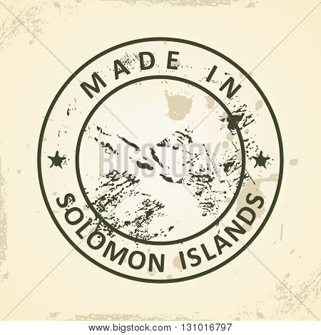 Grunge stamp with map of Solomon Islands - vector illustration