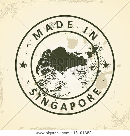 Grunge stamp with map of Singapore - vector illustration