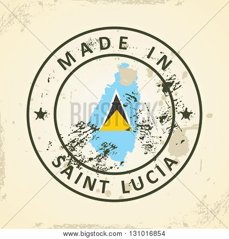Grunge stamp with map flag of Saint Lucia - vector illustration