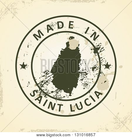 Grunge stamp with map of Saint Lucia - vector illustration