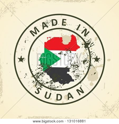 Grunge stamp with map flag of Sudan - vector illustration