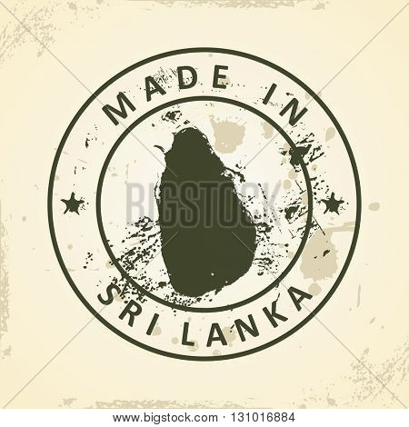Grunge stamp with map of Sri Lanka - vector illustration