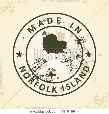Grunge stamp with map of Norfolk Island - vector illustration