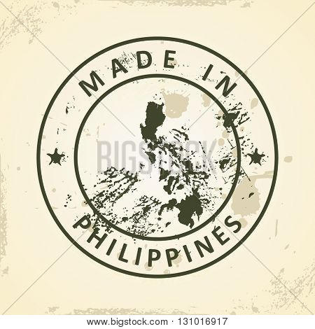 Grunge stamp with map of Philippines - vector illustration
