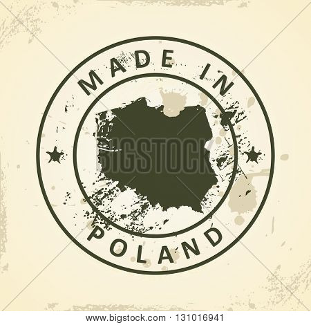 Grunge stamp with map of Poland - vector illustration