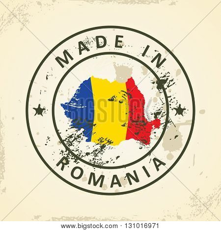 Grunge stamp with map flag of Romania - vector illustration