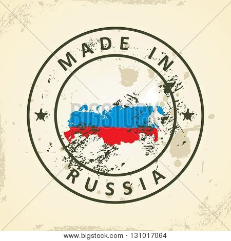 Grunge stamp with map flag of Russia - vector illustration