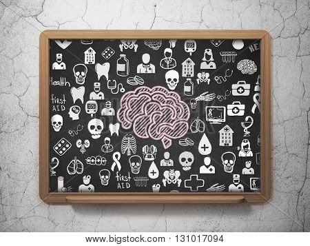 Health concept: Chalk Pink Brain icon on School board background with  Hand Drawn Medicine Icons, 3D Rendering