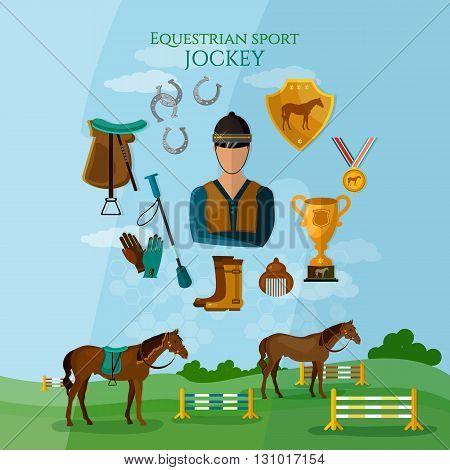 Equestrian sport professional jockey horse riding flat vector