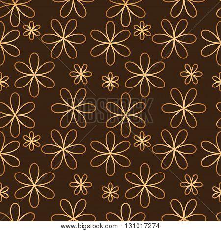 Flower seamless pattern golden color. Vector illustration