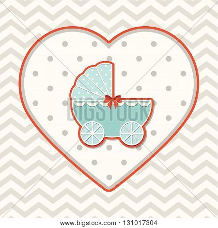 Abstract motive with stroller on heart shape on chevron background, vector illustration, eps 10 with transparency