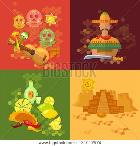 Mexico set mexican culture and mexican food tequila sombrero vector illustration