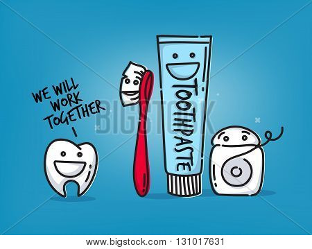 Small amusing tooth toothbrush dental floss toothpaste characters scene drawing on light blue background.