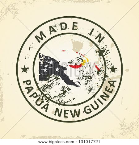 Grunge stamp with map flag of Papua New Guinea - vector illustration