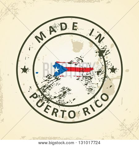 Grunge stamp with map flag of Puerto Rico - vector illustration