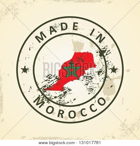 Grunge stamp with map flag of Morocco - vector illustration