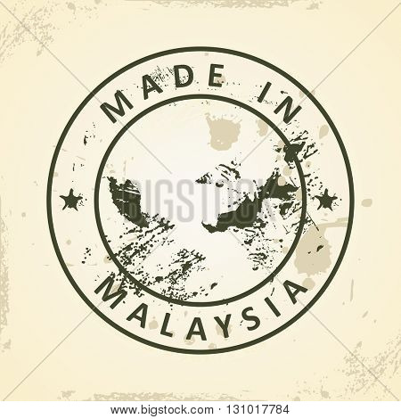 Grunge stamp with map of Malaysia - vector illustration