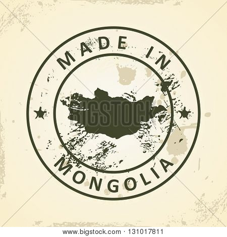 Grunge stamp with map of Mongolia - vector illustration
